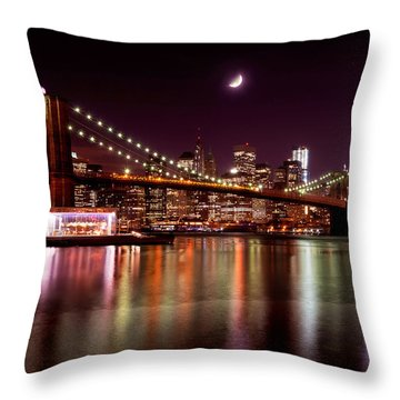 Amazing New York Skyline And Brooklyn Bridge With Moon Rising Throw Pillow