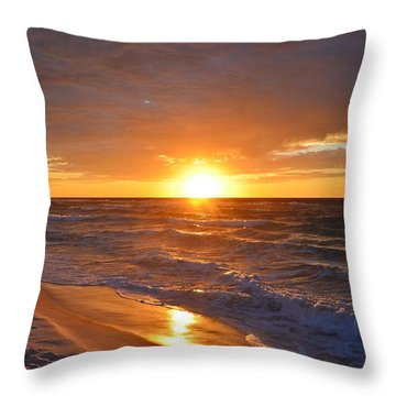 Amazing Sunrise Colors And Waves On Navarre Beach Throw Pillow by Jeff at JSJ Photography