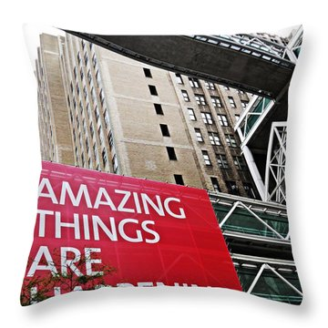 Amazing Things Throw Pillow by Sarah Loft