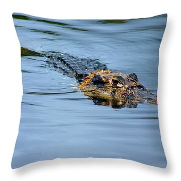 Throw Pillow featuring the photograph Amazon Alligator by Henry Kowalski