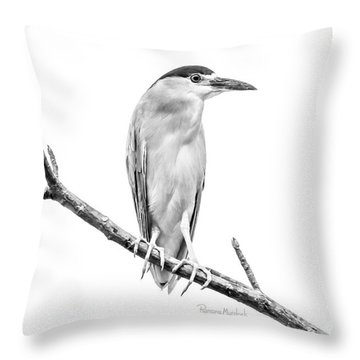 Amazonian Heron Black And White Throw Pillow