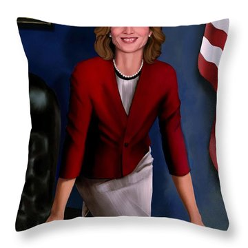 Throw Pillow featuring the painting Ambassador Kennedy At Her Desk by Jann Paxton