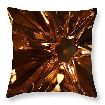Throw Pillow featuring the photograph Amber Crystal Snowflake by Linda Shafer