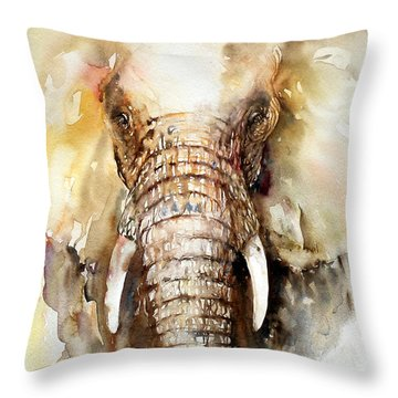 Amber Elephant Throw Pillow