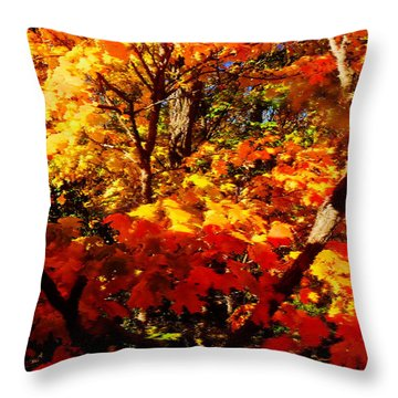 Throw Pillow featuring the digital art Amber Glow by Gayle Price Thomas