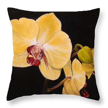 Amber Orchids Throw Pillow