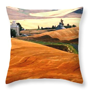 Throw Pillow featuring the painting Amber Waves by Jann Paxton