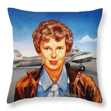 Amelia Earhart Throw Pillow by Todd Spaur