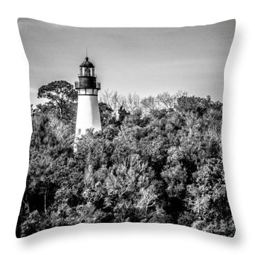 Amelia Island Lighthouse Throw Pillow by Wade Brooks