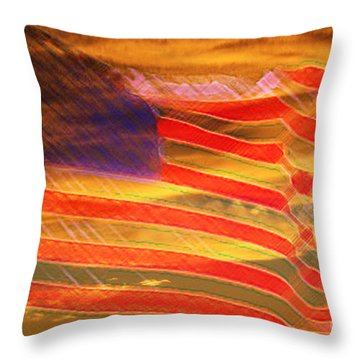 America Distress Throw Pillow by Beverly Guilliams