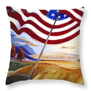 America Throw Pillow by Jen Norton