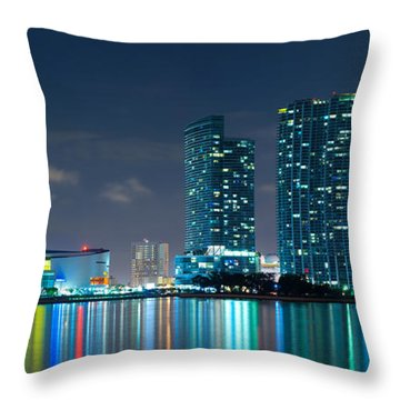 American Airlines Arena And Condominiums Throw Pillow by Carsten Reisinger