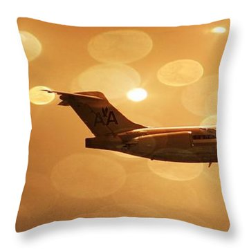 Airplanes Throw Pillow featuring the photograph American Airlines Md80  by Aaron Berg