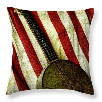 American Banjo Throw Pillow by Kristie  Bonnewell