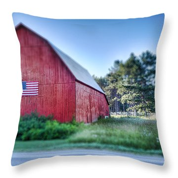 Throw Pillow featuring the photograph American Barn by Sebastian Musial