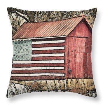 American Barn Throw Pillow by Trish Tritz