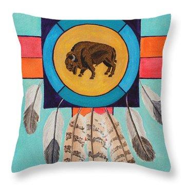 American Bison Dreamcatcher Throw Pillow