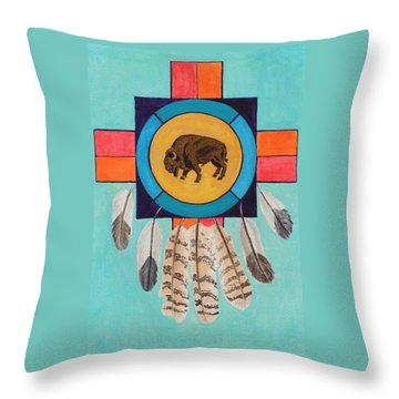 American Bison Dreamcatcher Throw Pillow
