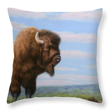 American Bison Throw Pillow by James W Johnson