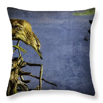 Throw Pillow featuring the mixed media American Bittern With Brush Calligraphy Lingering Mind by Peter v Quenter