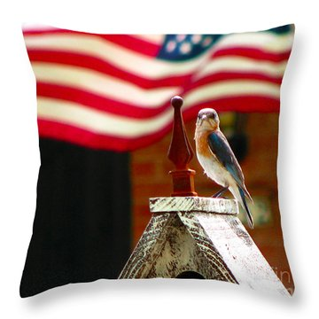 American Bluebird Throw Pillow by Luana K Perez