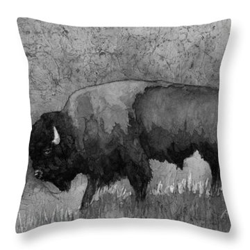 Monochrome American Buffalo 3  Throw Pillow