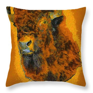 American Buffalo Throw Pillow by Barbara Snyder