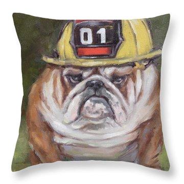 American Bulldog Fireman Throw Pillow