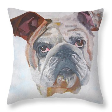 Throw Pillow featuring the painting American Bulldog Pet Portrait by Tracey Harrington-Simpson