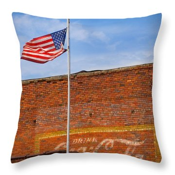 American Classics - Flag And Coke Throw Pillow