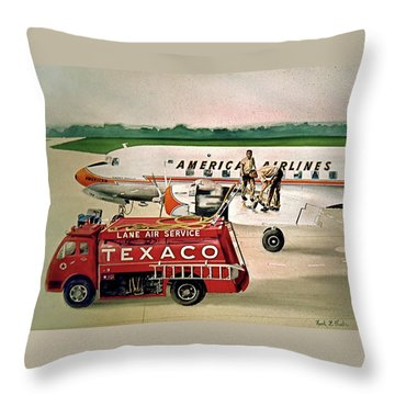 American Dc-6 At Columbus Throw Pillow by Frank Hunter