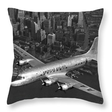 American Dc-6 Flying Over Nyc Throw Pillow