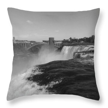 American Falls From Luna Island B N W Throw Pillow