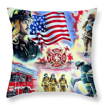 American Firefighters Throw Pillow