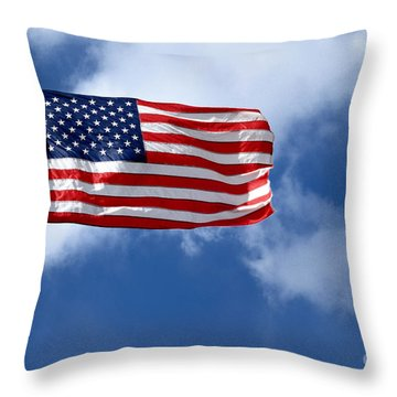 American Flag Throw Pillow by Amy Cicconi