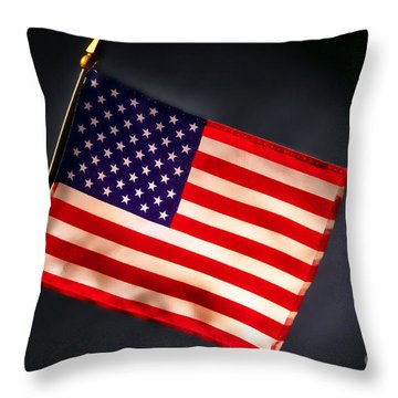 American Flag In Smoke Throw Pillow