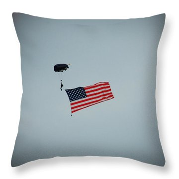 American Flag In The Sky Throw Pillow by Aimee L Maher Photography and Art Visit ALMGallerydotcom