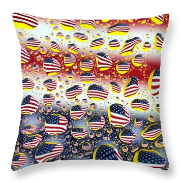 American Flag In Water Drops Throw Pillow
