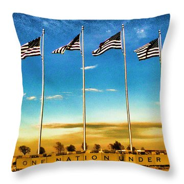 American Flag - Independence Day Throw Pillow by Luther Fine Art