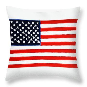 American Flag Throw Pillow by Matthew Brzostoski