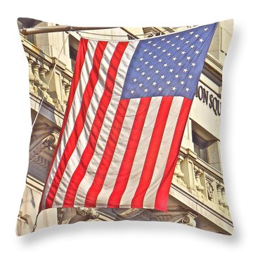 Throw Pillow featuring the photograph American Flag N.y.c 1 by Joan Reese