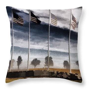 American Flag Still Standing Throw Pillow by Luther   Fine Art