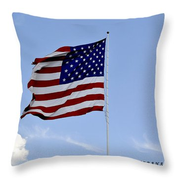 Throw Pillow featuring the photograph American Flag by Verana Stark
