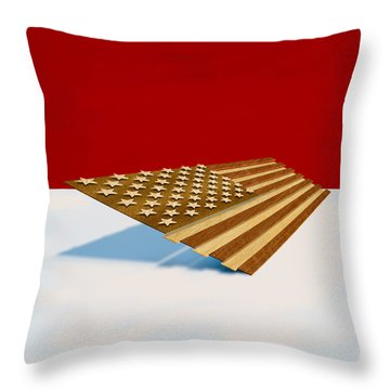 American Flag Wood Throw Pillow