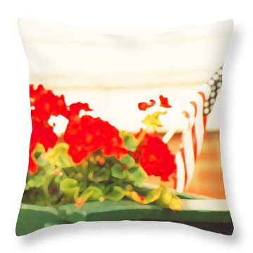 American Flags And Geraniums In A Wheelbarrow In Maine, One Throw Pillow