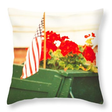 American Flags And Geraniums In A Wheelbarrow In Maine, Two Throw Pillow
