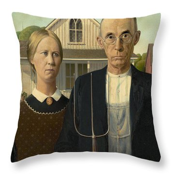 American Gothic Throw Pillow by Grant Wood