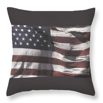 Historical Documents On Us Flag Throw Pillow