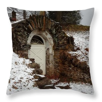 Throw Pillow featuring the photograph American Hobbit Hole by Michael Porchik