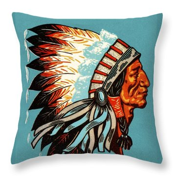 American Indian Chief Profile Throw Pillow